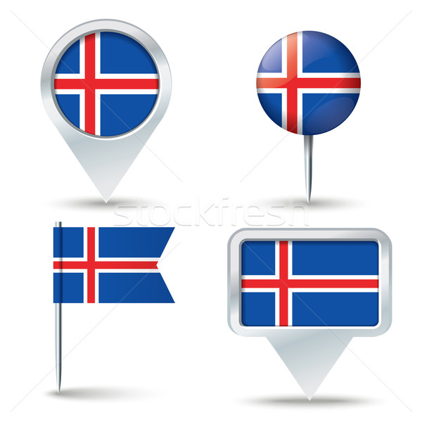 Map pins with flag of Iceland Stock photo © ojal