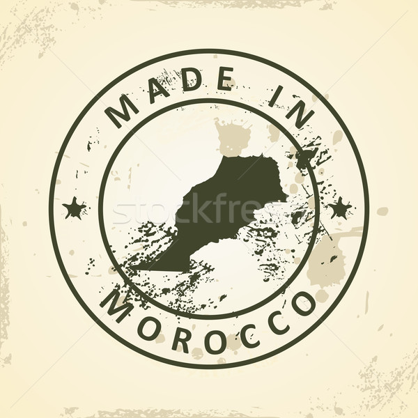 Stamp with map of Morocco Stock photo © ojal