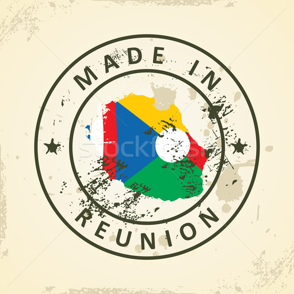 Stamp with map flag of Reunion Stock photo © ojal