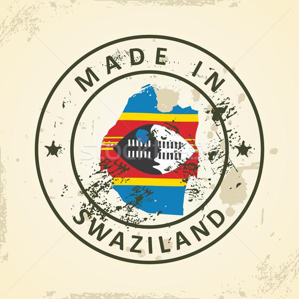 Stempel kaart vlag Swaziland grunge abstract Stockfoto © ojal