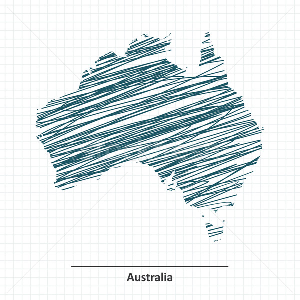 Rabisco esboço Austrália mapa mundo fundo Foto stock © ojal