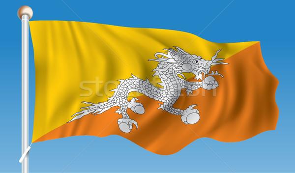 Vlag Bhutan water abstract wereld aarde Stockfoto © ojal