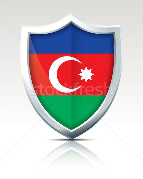 Escudo bandera Azerbaiyán textura mapa resumen Foto stock © ojal