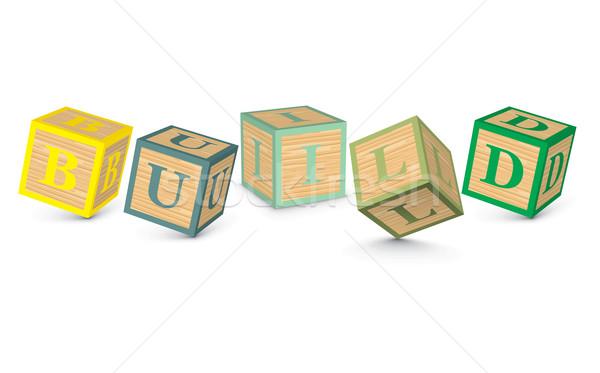 слово построить написанный алфавит блоки бизнеса Сток-фото © ojal