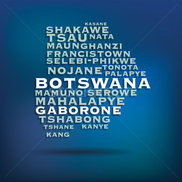 Botsvana harita ad şehirler soyut dünya Stok fotoğraf © ojal