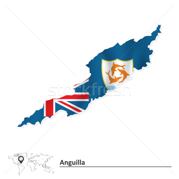 Map of Anguilla with flag Stock photo © ojal