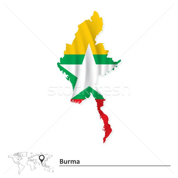 Kaart birma vlag witte land asia Stockfoto © ojal