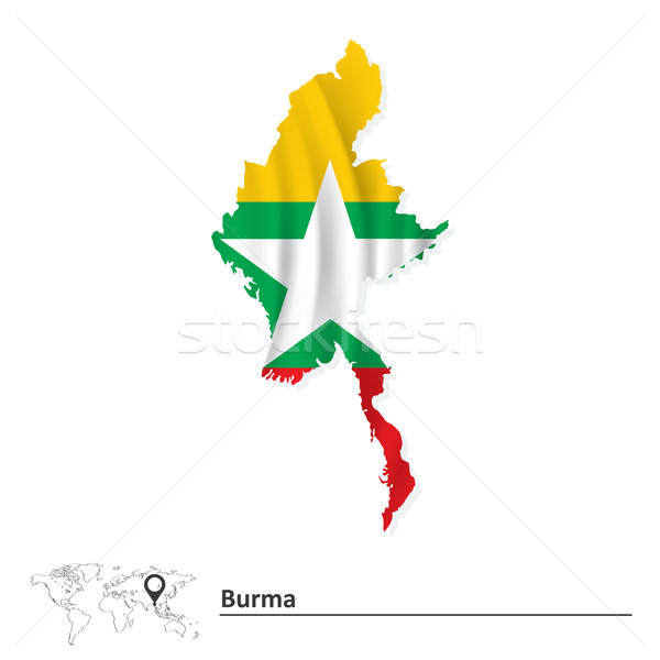 Mapa birmânia bandeira branco país Ásia Foto stock © ojal