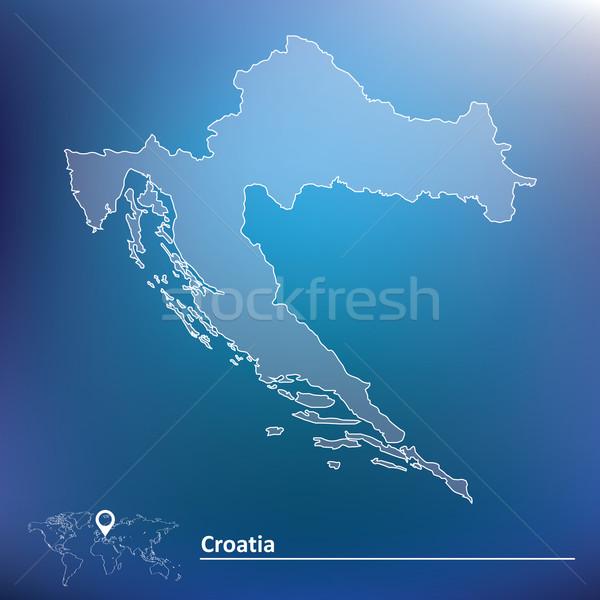 Mappa Croazia abstract design arte blu Foto d'archivio © ojal