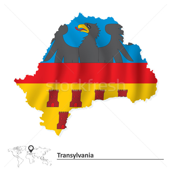 Map of Transylvania with flag Stock photo © ojal