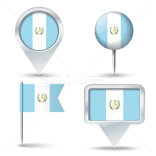 Map pins with flag of Guatemala Stock photo © ojal