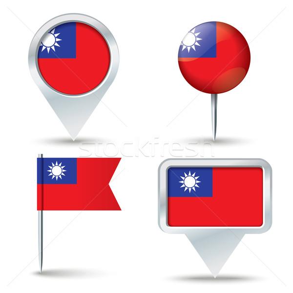 Harita bayrak Tayvan iş yol beyaz Stok fotoğraf © ojal