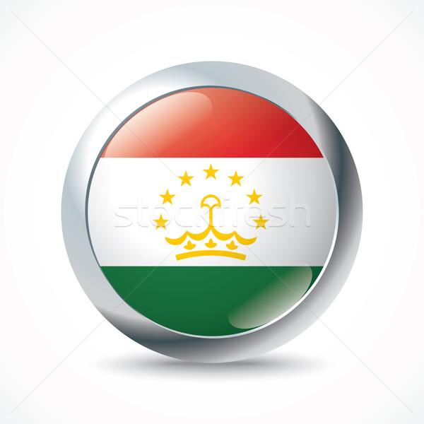 Таджикистан флаг кнопки фон зеленый ветер Сток-фото © ojal