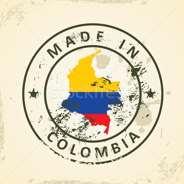 Stempel kaart vlag Colombia grunge achtergrond Stockfoto © ojal