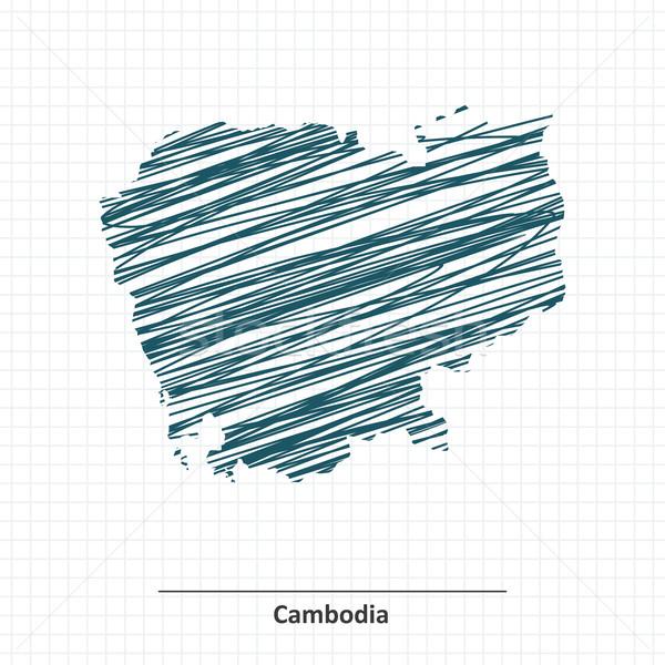Firka rajz Kambodzsa térkép város absztrakt Stock fotó © ojal