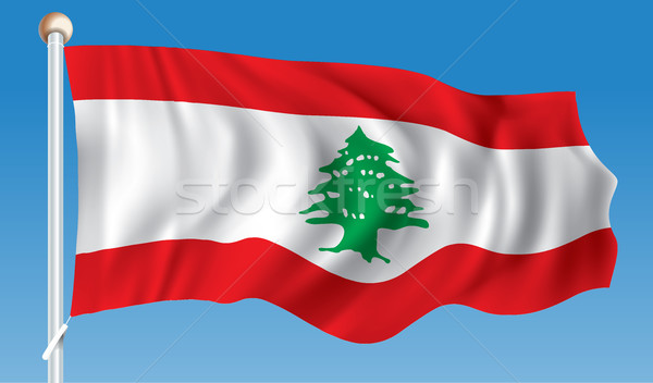 フラグ レバノン 海 緑 旅行 黒 ストックフォト © ojal
