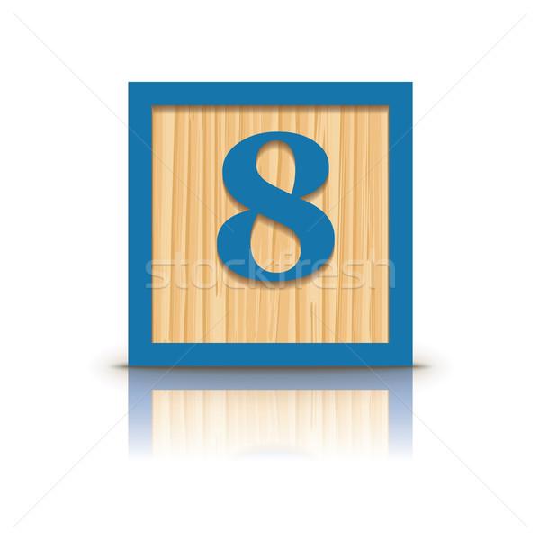 Vector number 8 wooden alphabet block Stock photo © ojal