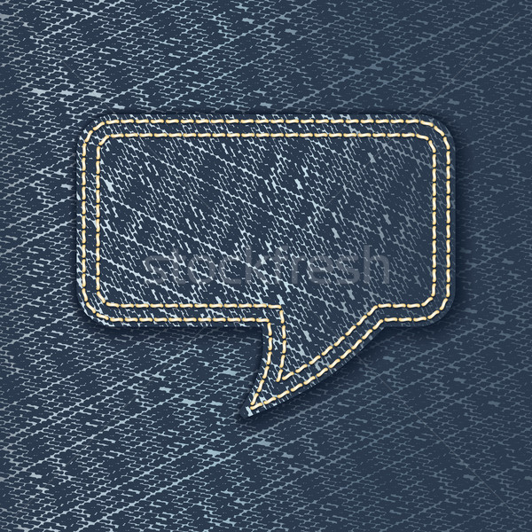 Jeans textured speech bubble Stock photo © ojal