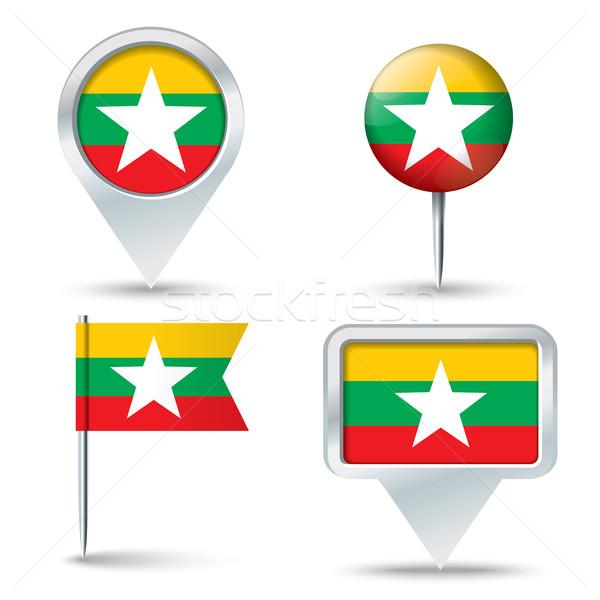 Kaart vlag birma business weg witte Stockfoto © ojal