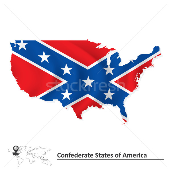 Flag of Confederate states of America with USA map Stock photo © ojal