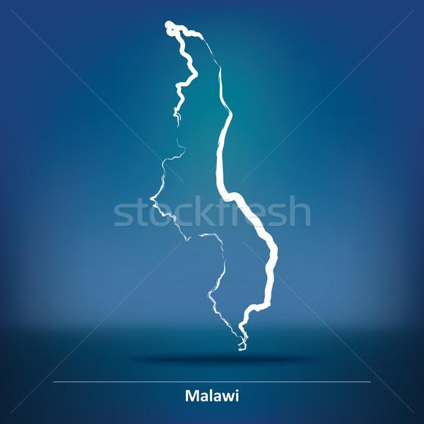 Doodle kaart Malawi textuur zon wereld Stockfoto © ojal