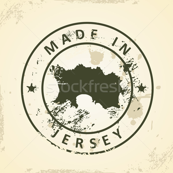 Stock photo: Stamp with map of Jersey