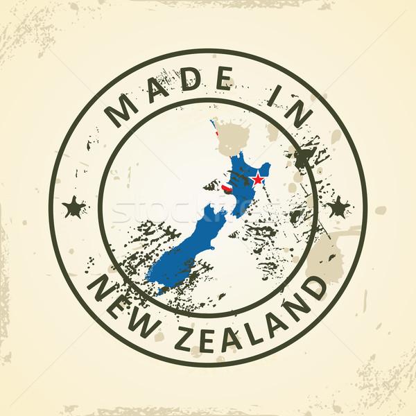 Carimbo mapa bandeira Nova Zelândia grunge mundo Foto stock © ojal