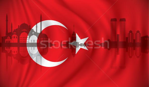 Bandeira istambul linha do horizonte abstrato mar lua Foto stock © ojal