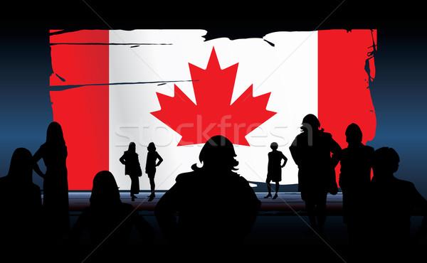 Drapeau canadien silhouettes personnes enfant hiver blanche Photo stock © ojal
