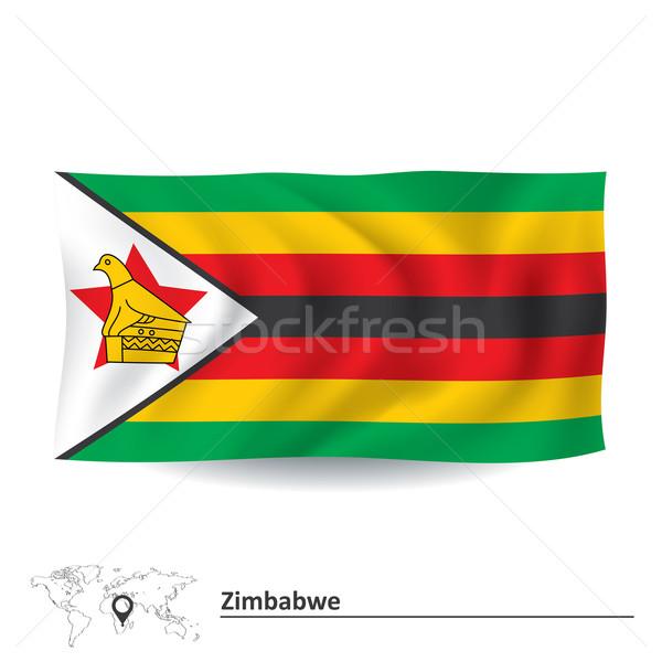 Zászló Zimbabwe textúra terv felirat zöld Stock fotó © ojal