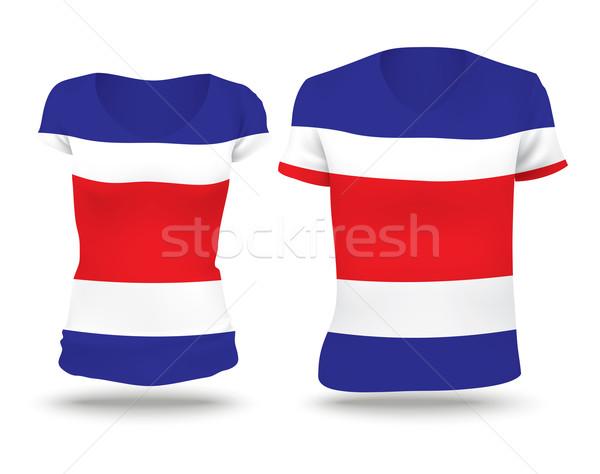 Bandera camisa diseno Costa Rica mujer hombre Foto stock © ojal