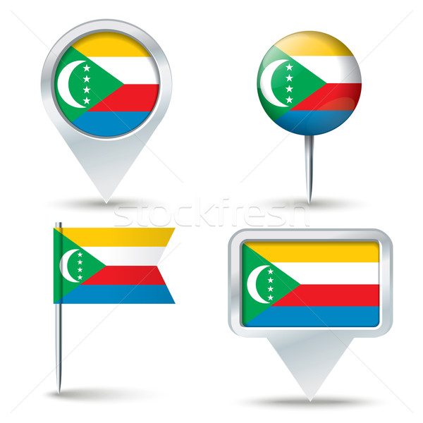 Map pins with flag of Comoros Stock photo © ojal