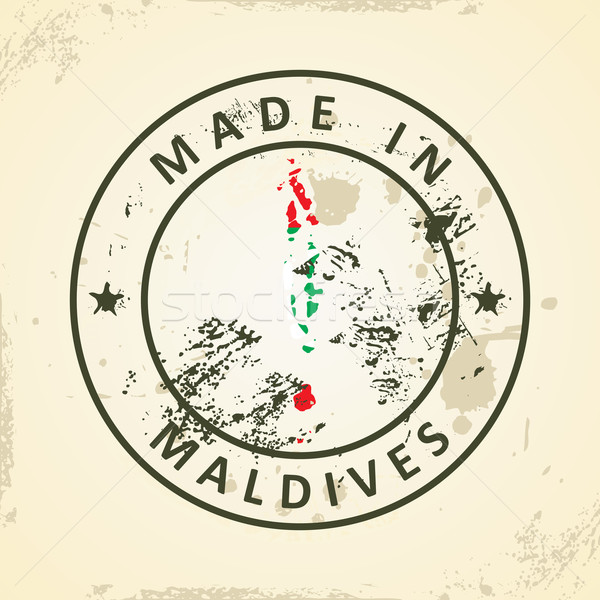 Stamp with map flag of Maldives Stock photo © ojal