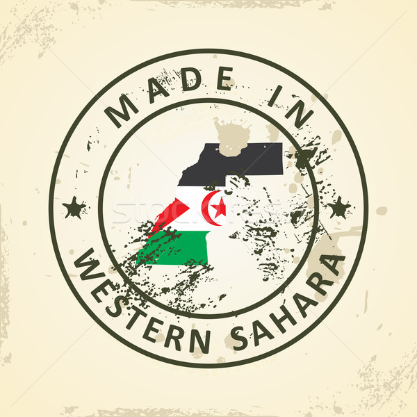 Stamp with map flag of Western Sahara Stock photo © ojal
