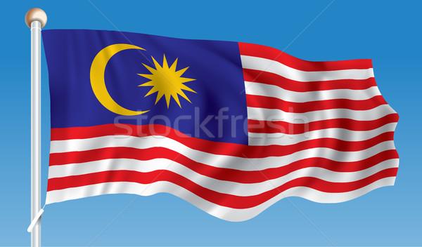 Bayrak Malezya doku harita seyahat star Stok fotoğraf © ojal