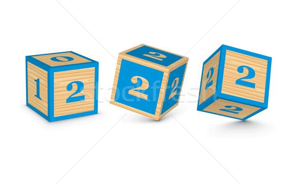 Vector number 2 wooden alphabet blocks Stock photo © ojal