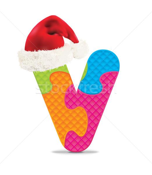 Levél írott ábécé puzzle karácsony kalap Stock fotó © ojal