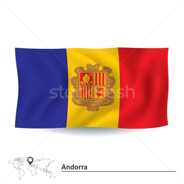 Flagge Andorra Stadt abstrakten Design Silhouette Stock foto © ojal
