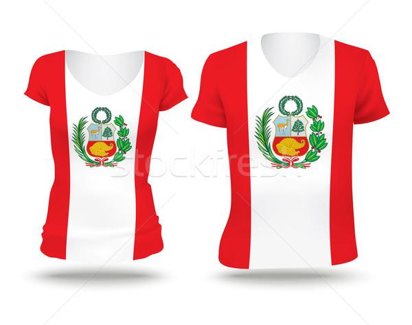 Vlag shirt ontwerp Peru vrouw man Stockfoto © ojal