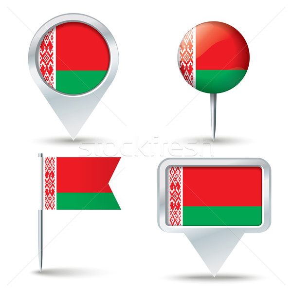 Map pins with flag of Belarus Stock photo © ojal