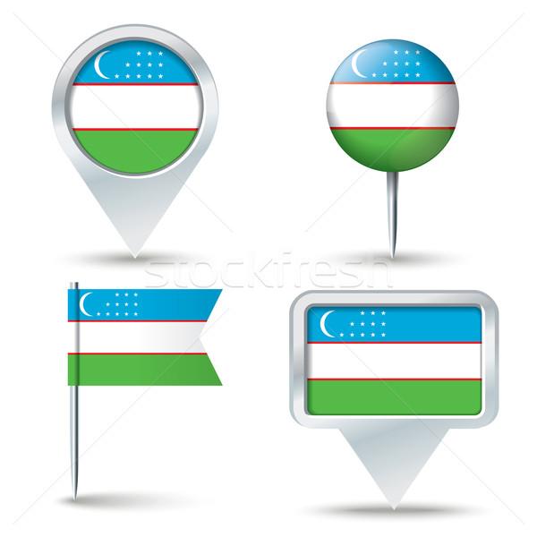 Térkép zászló Üzbegisztán üzlet út fehér Stock fotó © ojal