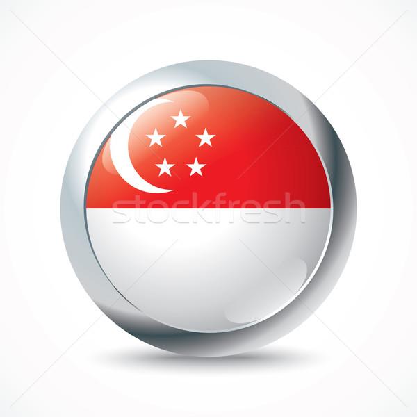Singapore vlag knop wereld maan teken Stockfoto © ojal