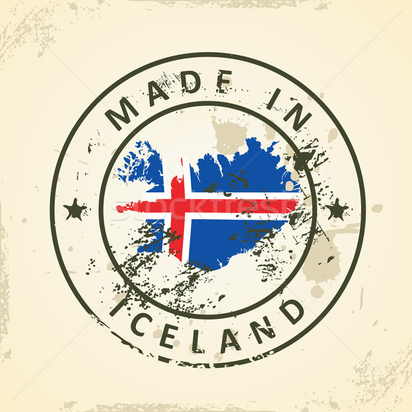Stamp with map flag of Iceland Stock photo © ojal
