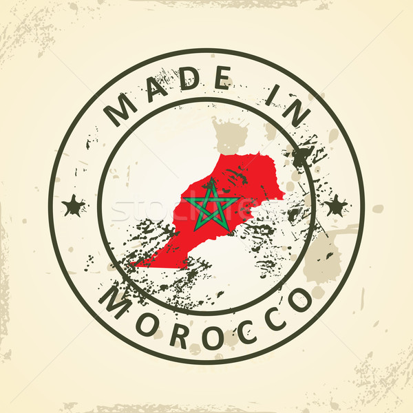 Stamp with map flag of Morocco Stock photo © ojal