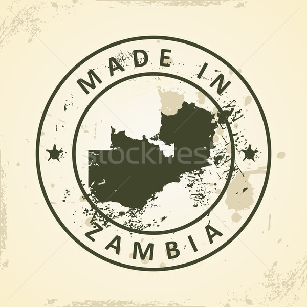 Damga harita Zambiya grunge dünya yeşil Stok fotoğraf © ojal