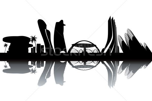 Abu Dhabi sziluett feketefehér épület építkezés világ Stock fotó © ojal