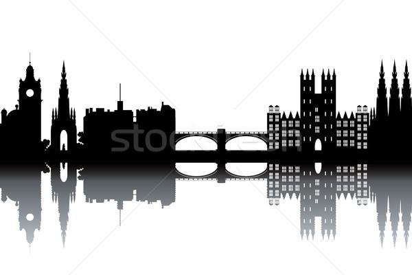Edinburgh sziluett feketefehér víz fa város Stock fotó © ojal