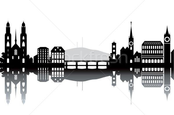 Zürih ufuk çizgisi siyah beyaz iş Bina şehir Stok fotoğraf © ojal