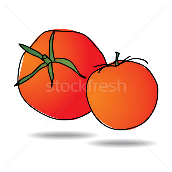 Freehand drawing tomato icon Stock photo © ojal