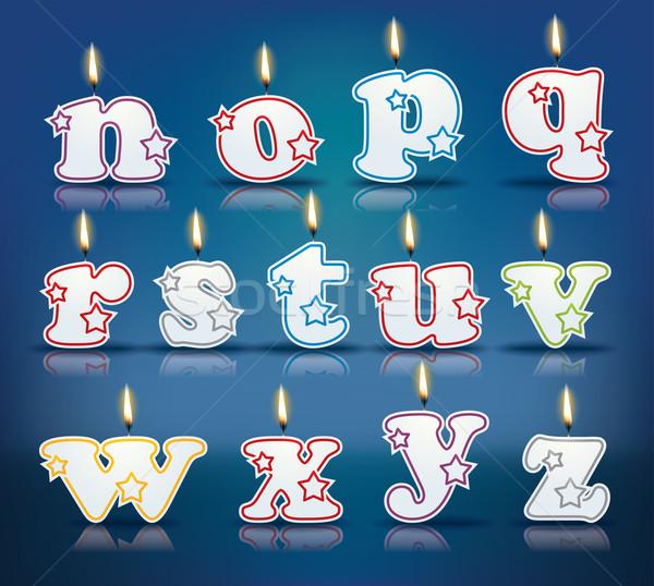 свечу письма пламя прибыль на акцию 10 счастливым Сток-фото © ojal
